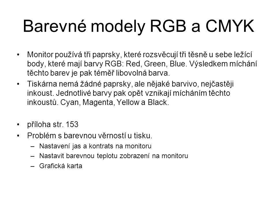 Barevné modely RGB a CMYK