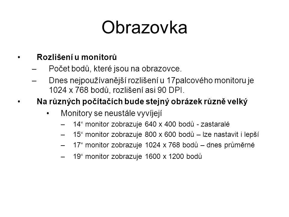 Obrazovka Rozlišení u monitorů Počet bodů, které jsou na obrazovce.