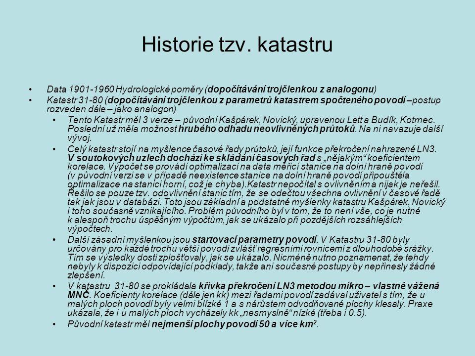 Historie tzv. katastru Data 1901-1960 Hydrologické poměry (dopočítávání trojčlenkou z analogonu)