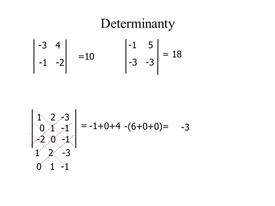 Determinanty -3 4 -1 5 = 18 =10 -1 -2 -3 -3 2 -3 0 1 -1 = -1+0+4