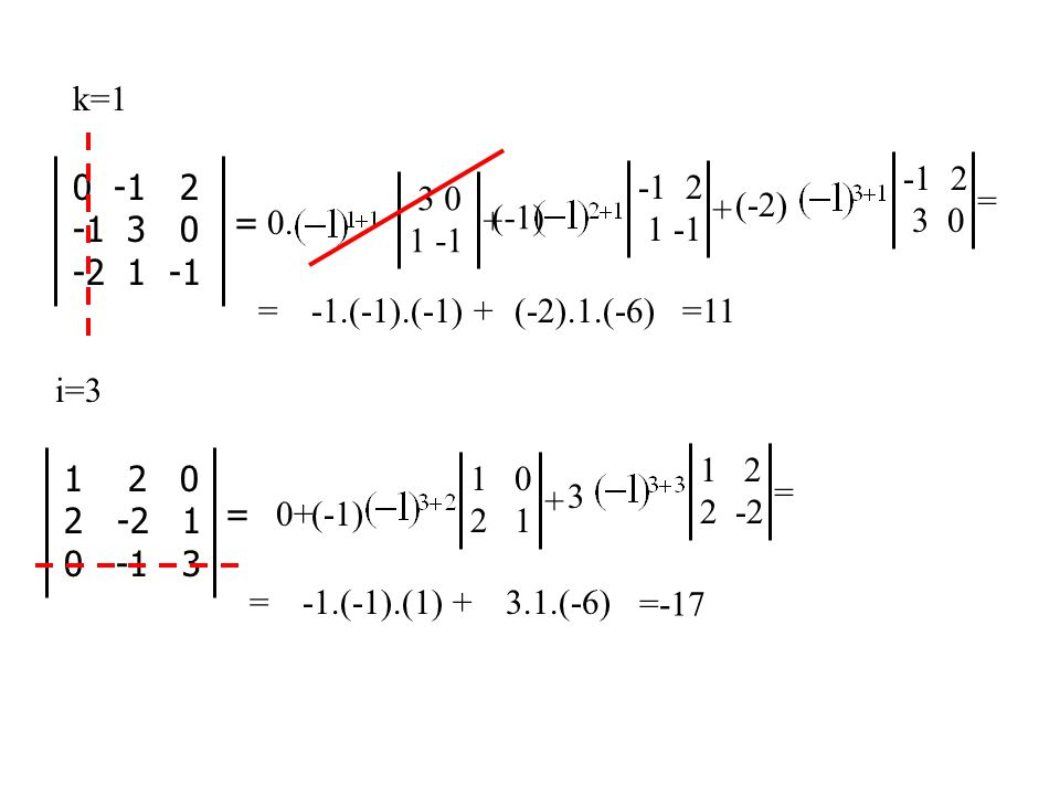 k=1 -1 2. 3 0. 0 -1 2. -1 3 0. -2 1 -1. -1 2. 1 -1. 3 0. 1 -1. = + (-2) = 0.