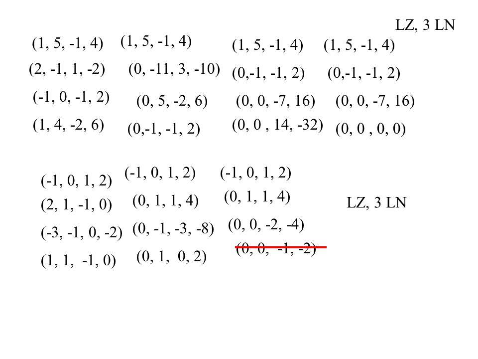 LZ, 3 LN (1, 5, -1, 4) (1, 5, -1, 4) (1, 5, -1, 4) (1, 5, -1, 4) (2, -1, 1, -2) (0, -11, 3, -10)