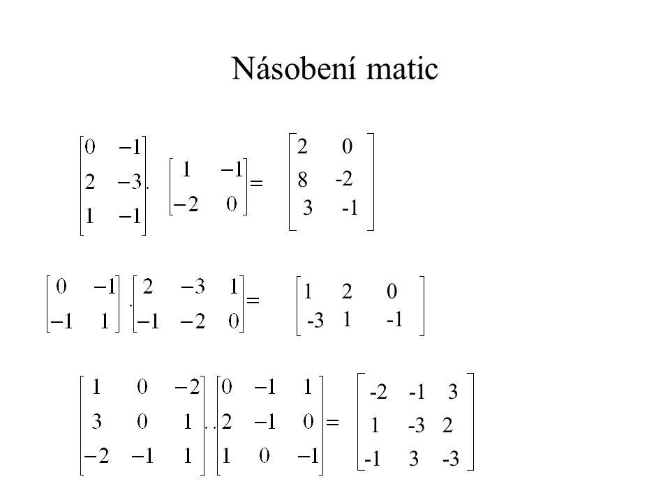 Násobení matic 2 8 -2 3 -1 1 2 -3 1 -1 -2 -1 3 1 -3 2 -1 3 -3