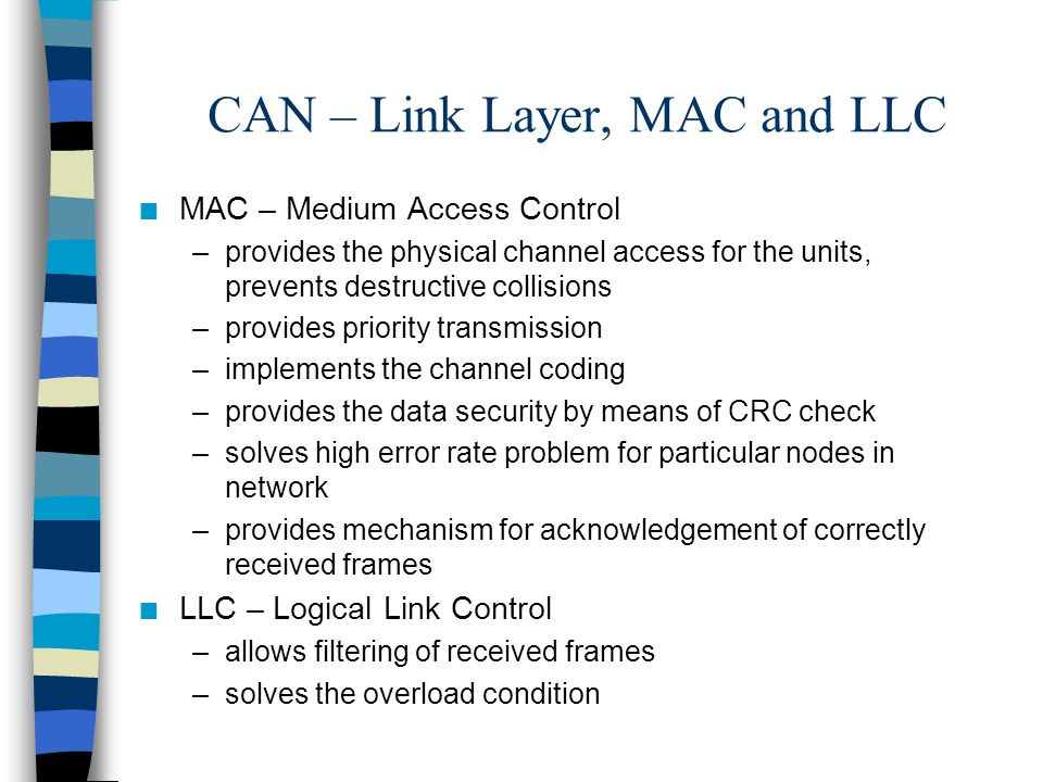 CAN – Link Layer, MAC and LLC