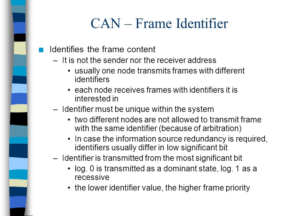 CAN – Frame Identifier Identifies the frame content