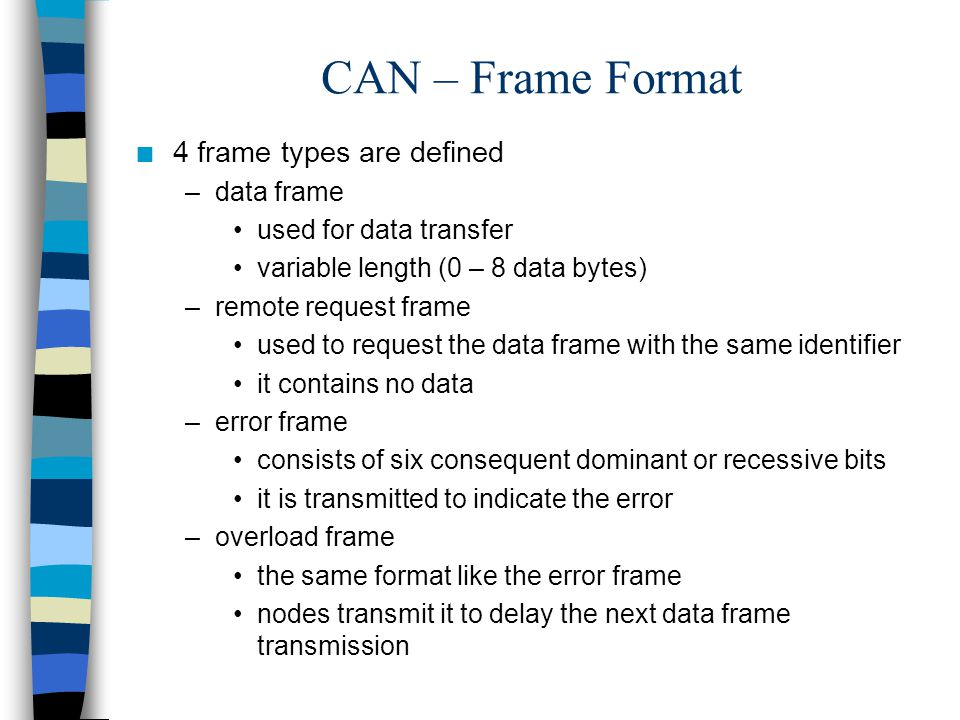 CAN – Frame Format 4 frame types are defined data frame