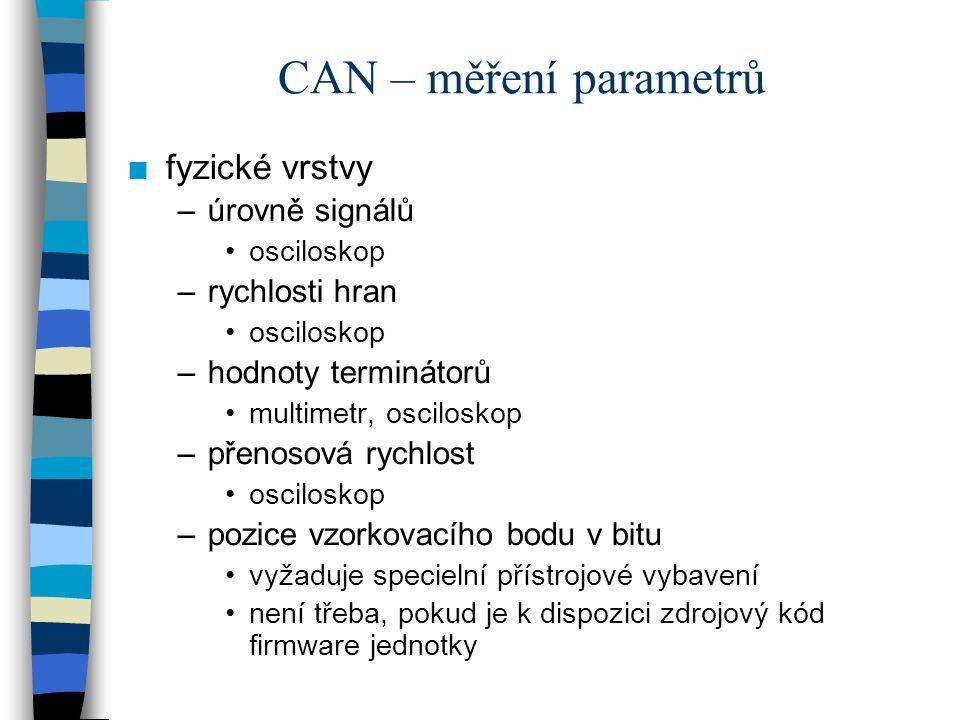 CAN – měření parametrů fyzické vrstvy úrovně signálů rychlosti hran