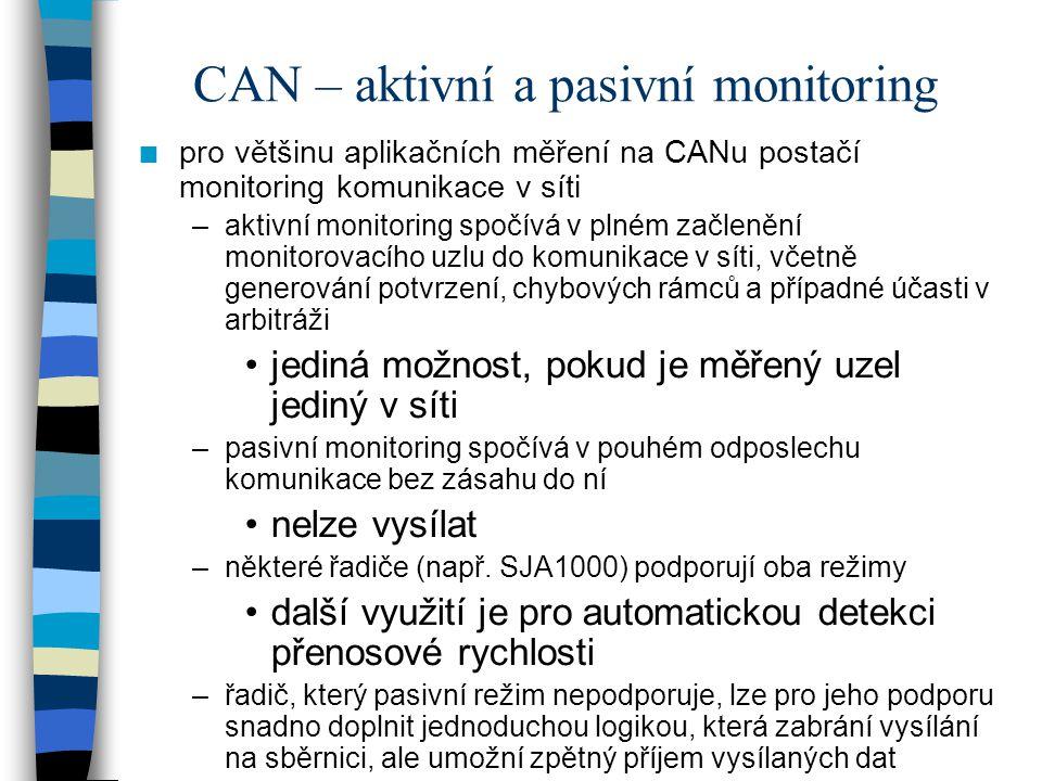 CAN – aktivní a pasivní monitoring