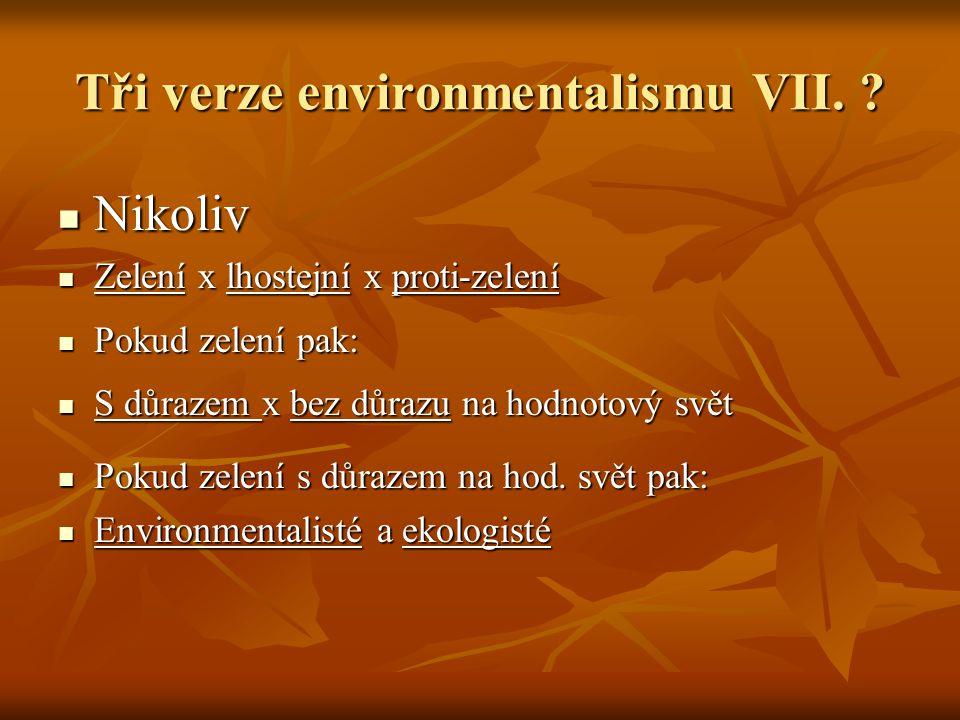 Tři verze environmentalismu VII.