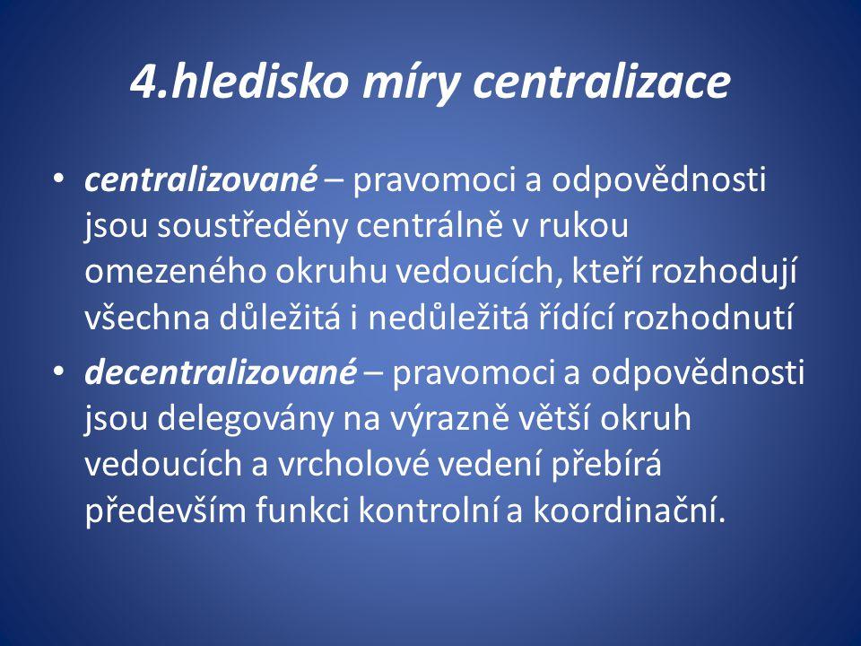 4.hledisko míry centralizace