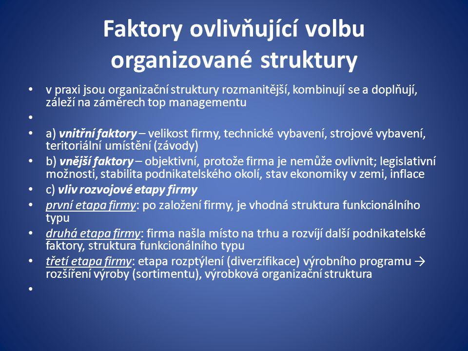 Faktory ovlivňující volbu organizované struktury