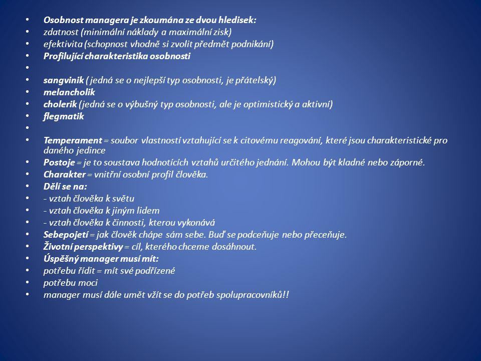 Osobnost managera je zkoumána ze dvou hledisek: