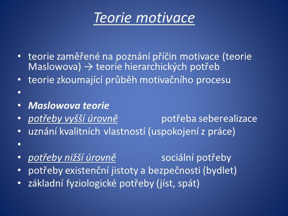 Teorie motivace teorie zaměřené na poznání příčin motivace (teorie Maslowova) → teorie hierarchických potřeb.