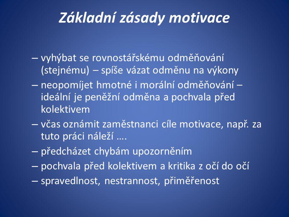 Základní zásady motivace