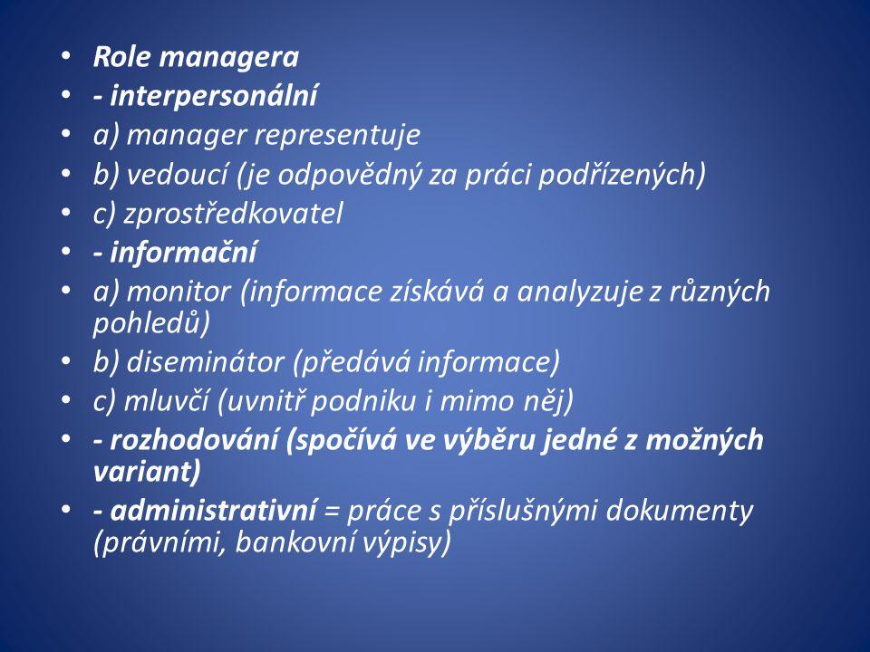 Role managera - interpersonální. a) manager representuje. b) vedoucí (je odpovědný za práci podřízených)