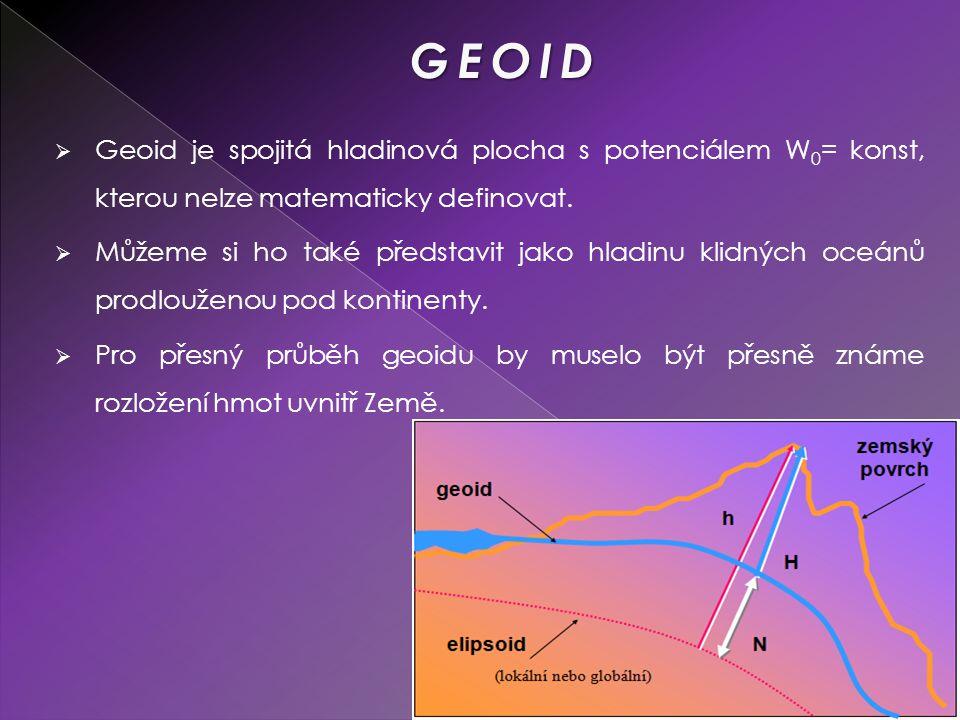 GEOID Geoid je spojitá hladinová plocha s potenciálem W0= konst, kterou nelze matematicky definovat.
