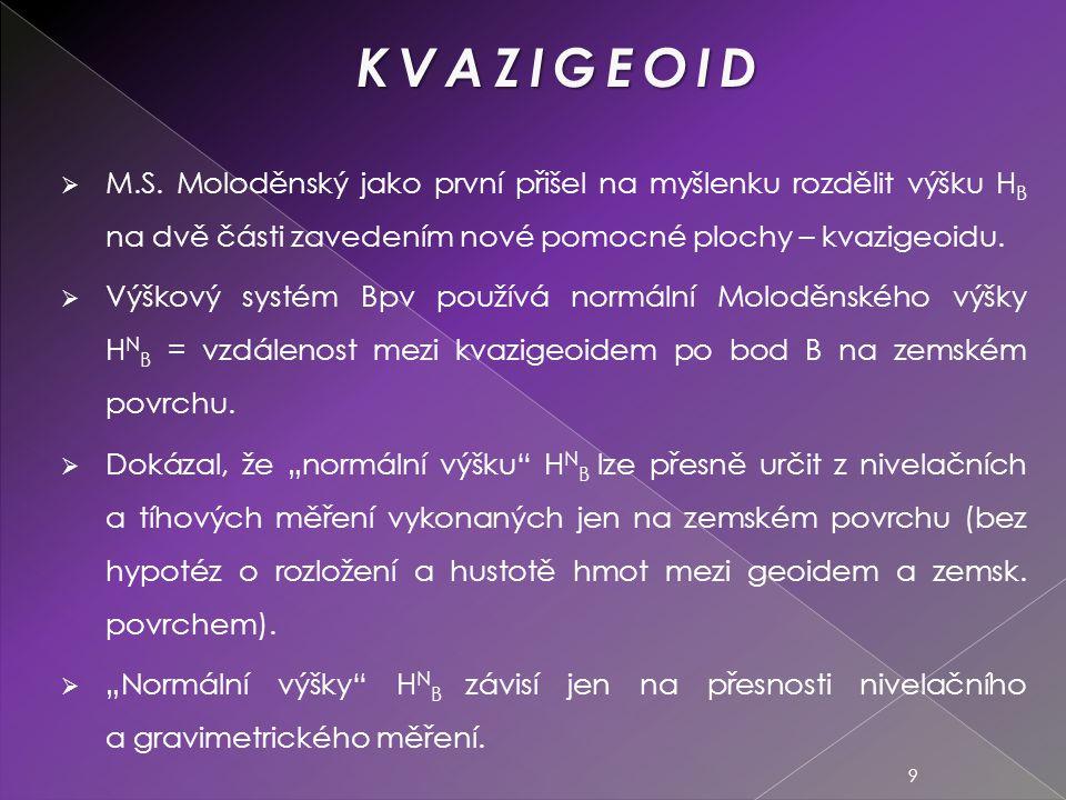 KVAZIGEOID M.S. Moloděnský jako první přišel na myšlenku rozdělit výšku HB na dvě části zavedením nové pomocné plochy – kvazigeoidu.