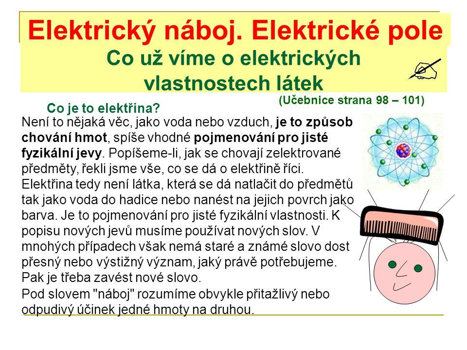 Elektrický náboj. Elektrické pole