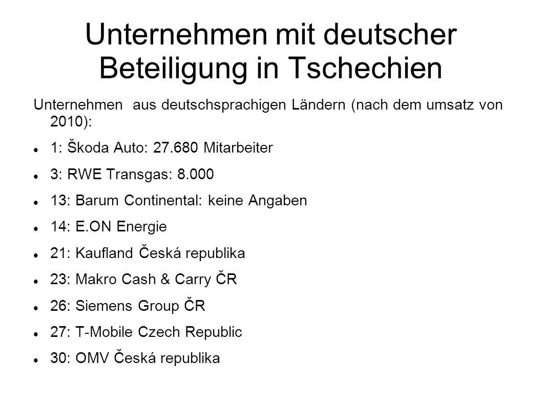 Unternehmen mit deutscher Beteiligung in Tschechien
