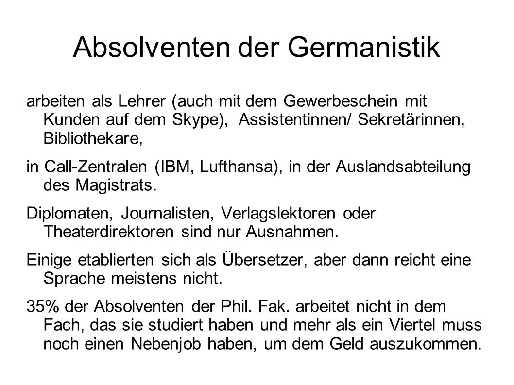 Absolventen der Germanistik