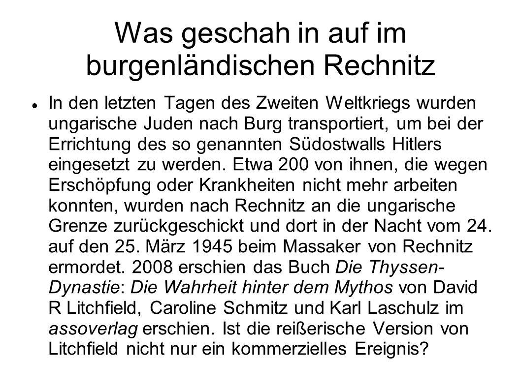 Was geschah in auf im burgenländischen Rechnitz