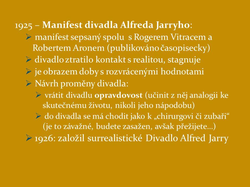 1925 – Manifest divadla Alfreda Jarryho:
