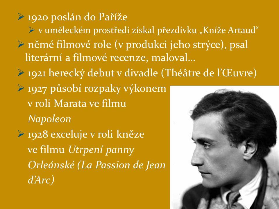 1921 herecký debut v divadle (Théâtre de l'Œuvre)