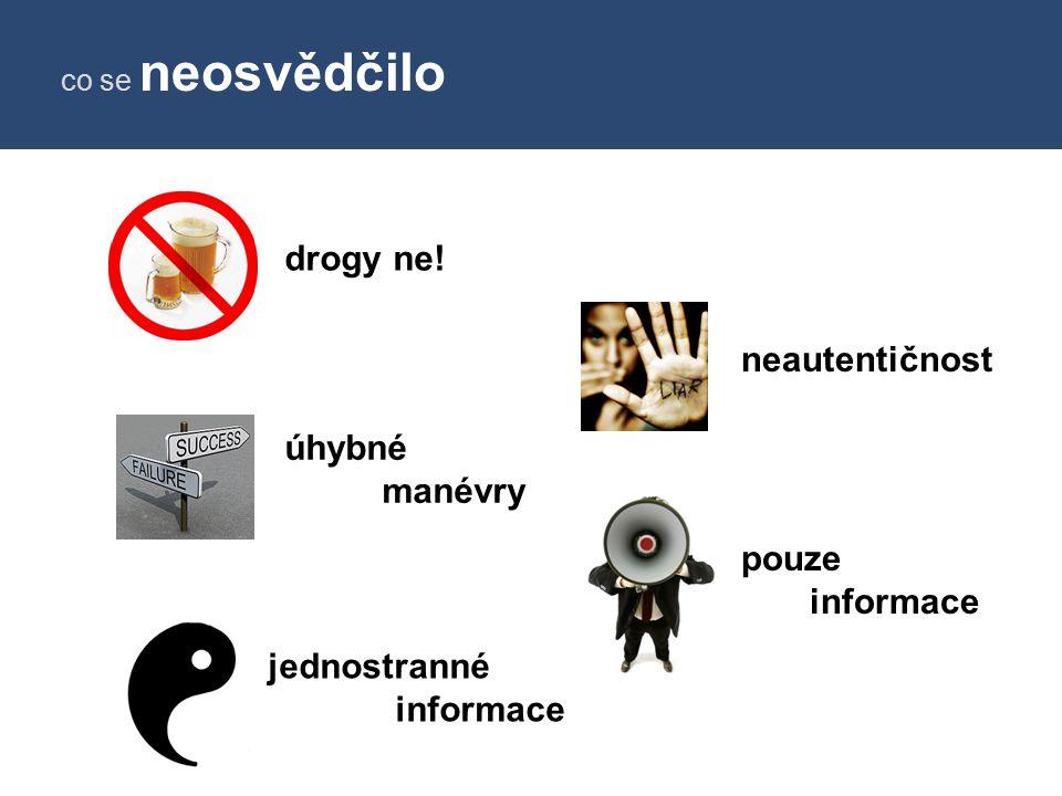 drogy ne! neautentičnost úhybné manévry pouze informace jednostranné