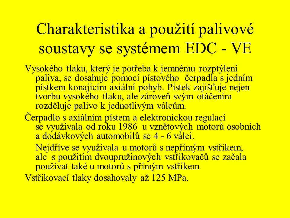 Charakteristika a použití palivové soustavy se systémem EDC - VE