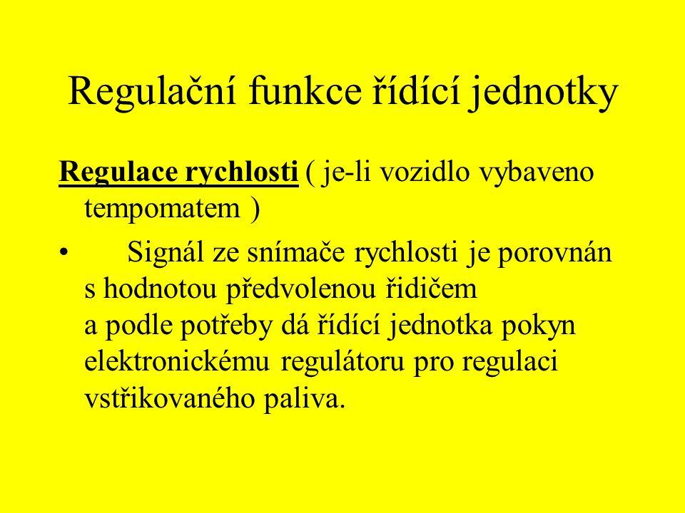 Regulační funkce řídící jednotky