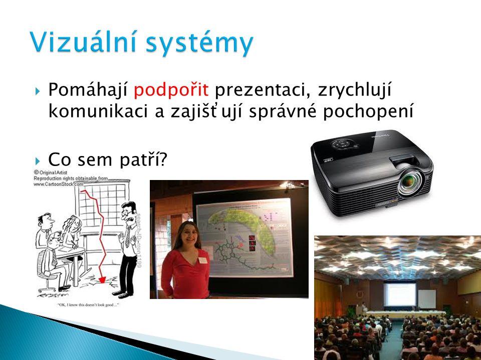 Vizuální systémy Pomáhají podpořit prezentaci, zrychlují komunikaci a zajišťují správné pochopení.