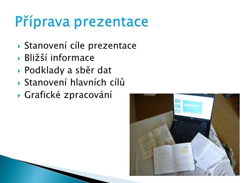 Příprava prezentace Stanovení cíle prezentace Bližší informace