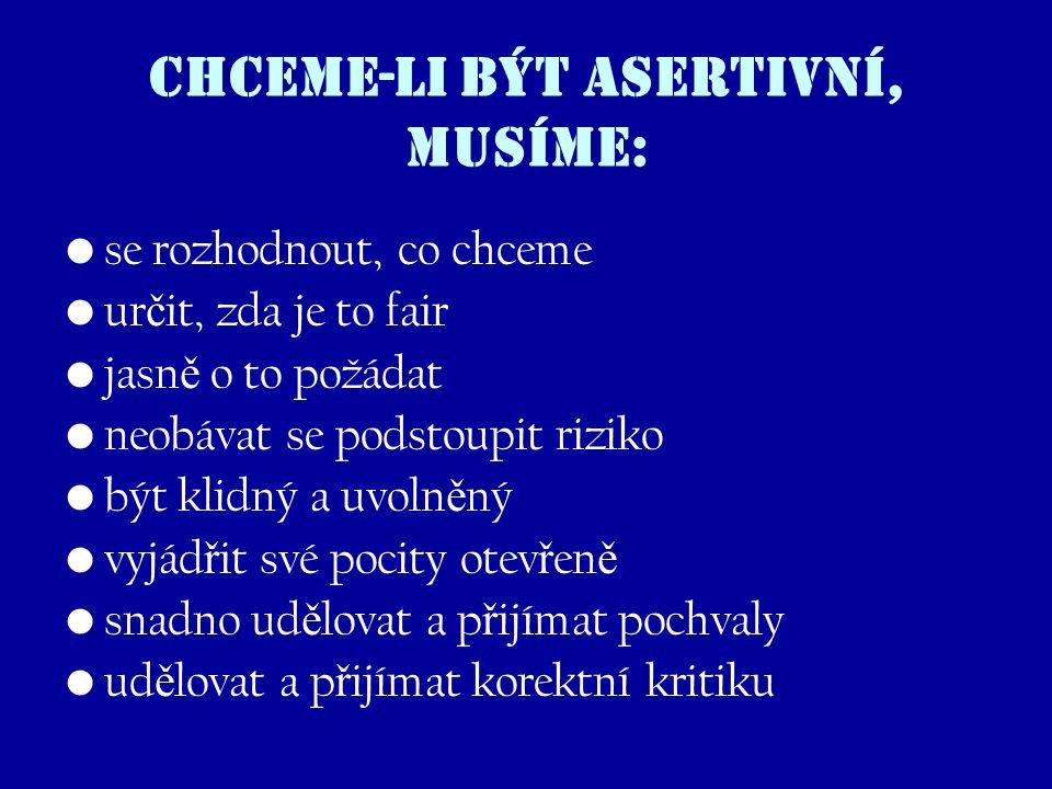 Chceme-li být asertivní, musíme: