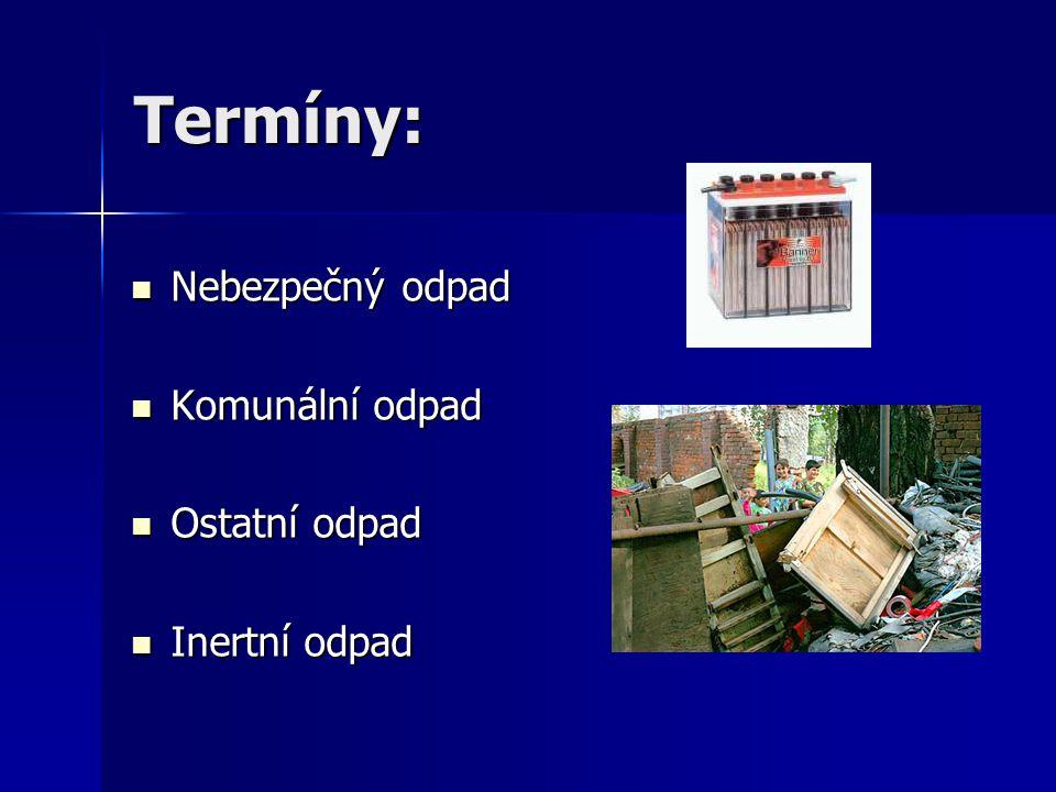 Termíny: Nebezpečný odpad Komunální odpad Ostatní odpad Inertní odpad