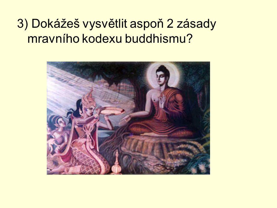 3) Dokážeš vysvětlit aspoň 2 zásady mravního kodexu buddhismu