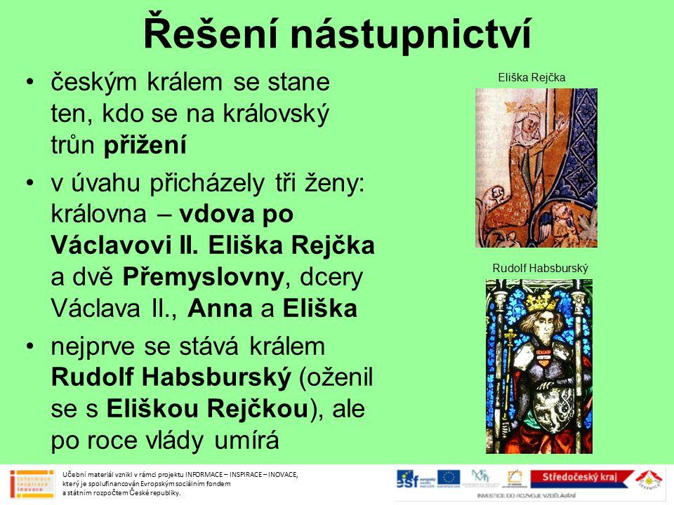 Řešení nástupnictví českým králem se stane ten, kdo se na královský trůn přižení.