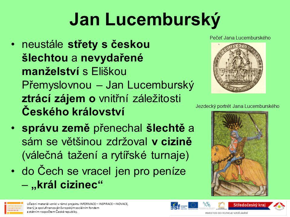 Jan Lucemburský Pečeť Jana Lucemburského.