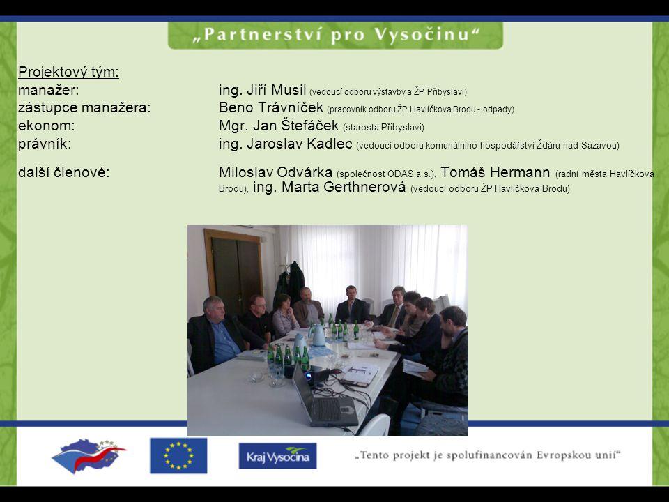 Projektový tým: manažer: ing. Jiří Musil (vedoucí odboru výstavby a ŽP Přibyslavi)