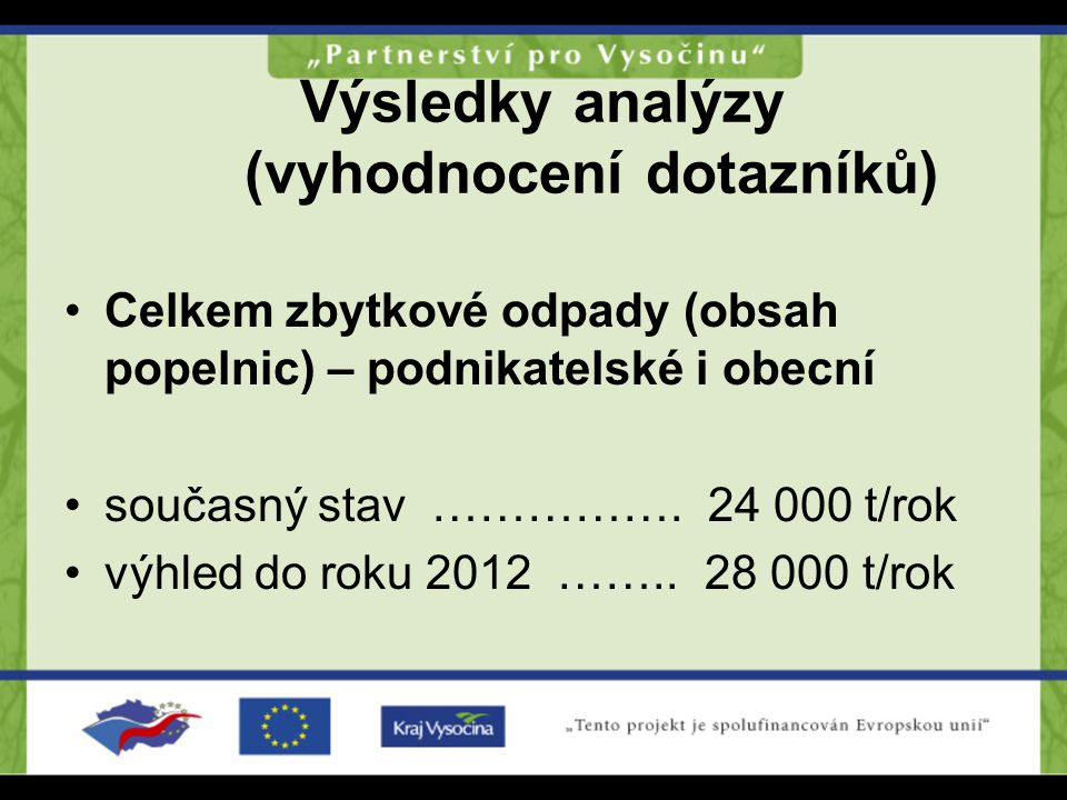 Výsledky analýzy (vyhodnocení dotazníků)