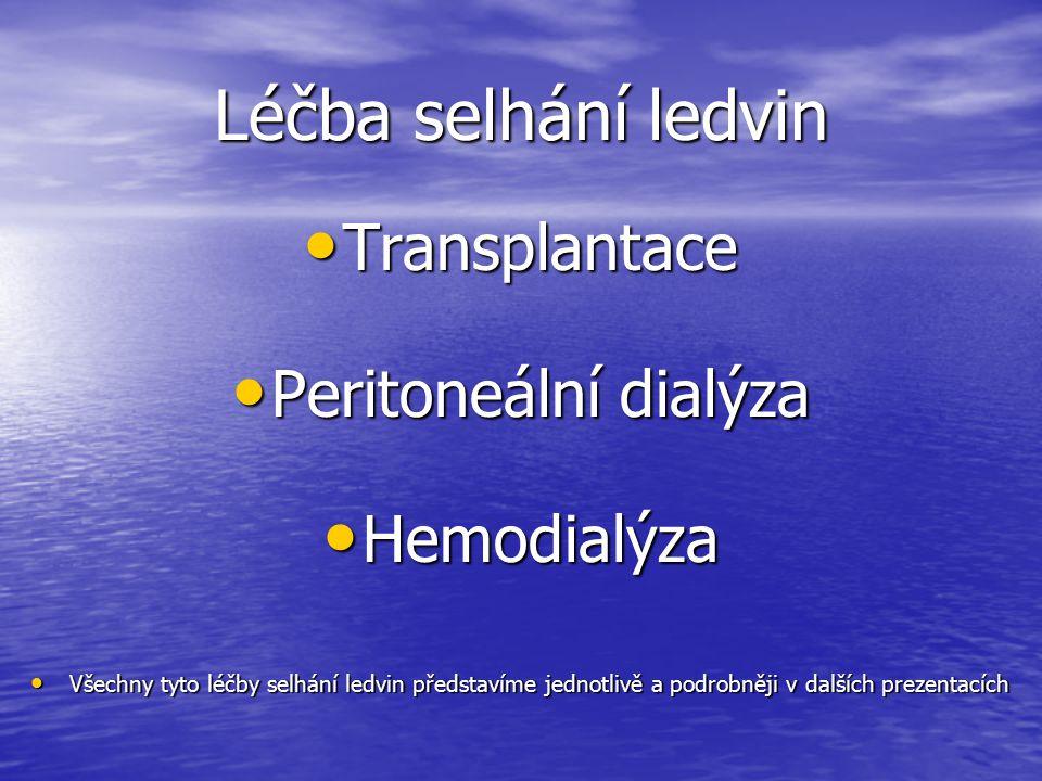 Léčba selhání ledvin Transplantace Peritoneální dialýza Hemodialýza