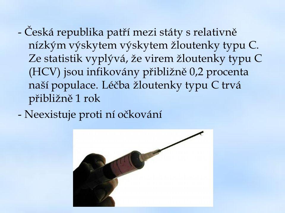- Česká republika patří mezi státy s relativně nízkým výskytem výskytem žloutenky typu C. Ze statistik vyplývá, že virem žloutenky typu C (HCV) jsou infikovány přibližně 0,2 procenta naší populace. Léčba žloutenky typu C trvá přibližně 1 rok
