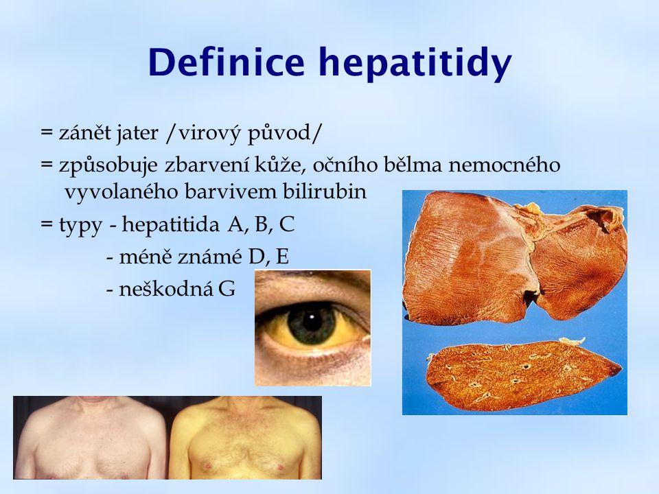 Definice hepatitidy = zánět jater /virový původ/