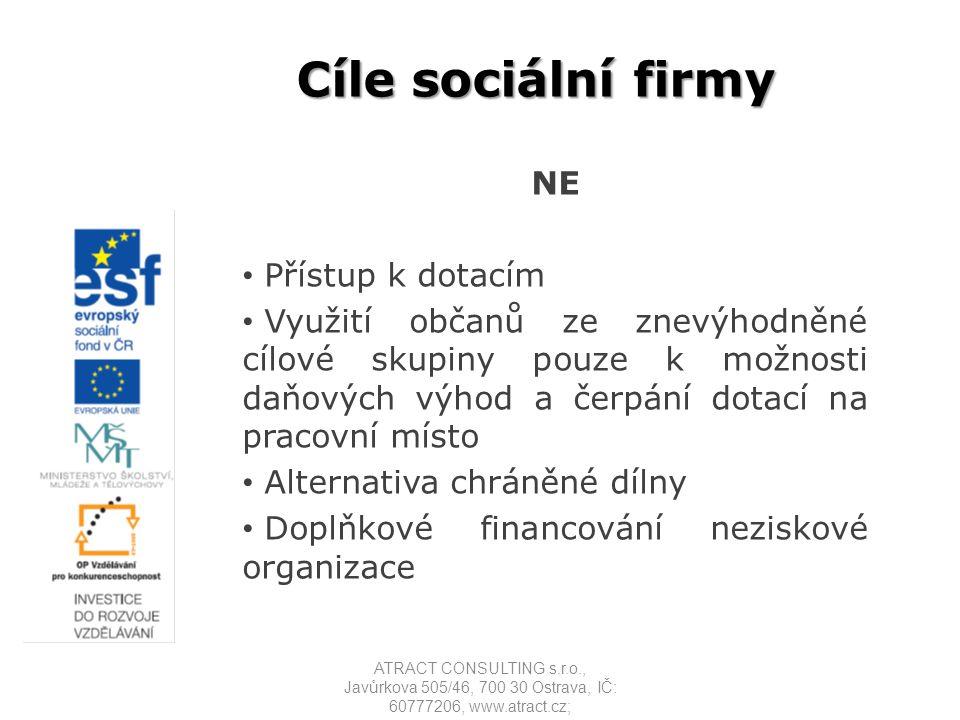 Cíle sociální firmy NE Přístup k dotacím