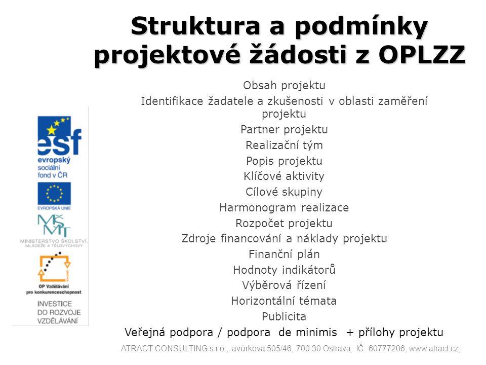 Struktura a podmínky projektové žádosti z OPLZZ