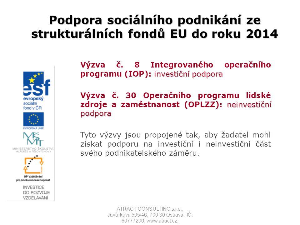 Podpora sociálního podnikání ze strukturálních fondů EU do roku 2014