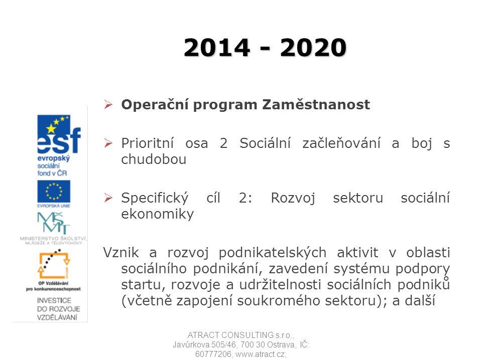 2014 - 2020 Operační program Zaměstnanost