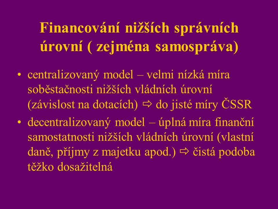 Financování nižších správních úrovní ( zejména samospráva)