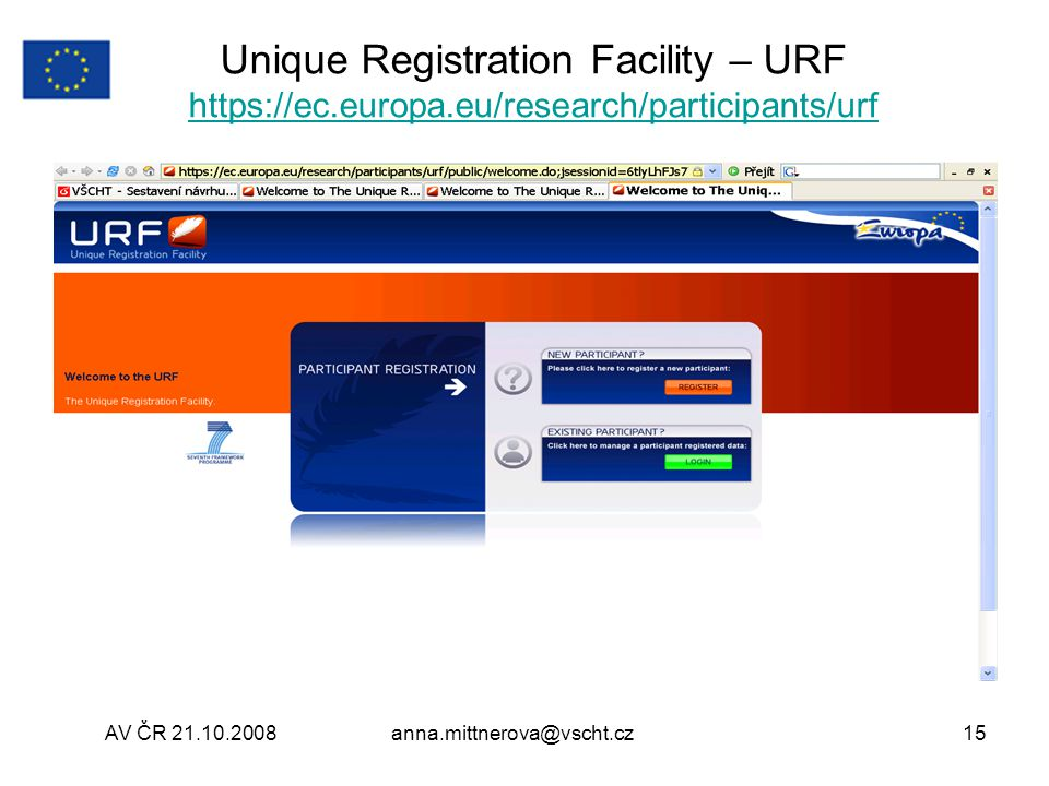 Unique Registration Facility – URF https://ec. europa