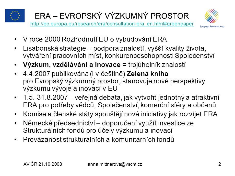 ERA – EVROPSKÝ VÝZKUMNÝ PROSTOR http://ec. europa