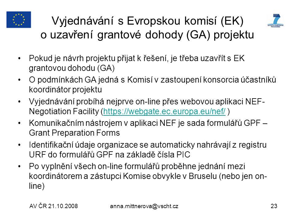 Vyjednávání s Evropskou komisí (EK) o uzavření grantové dohody (GA) projektu